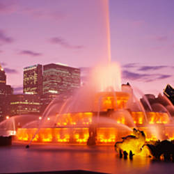 Fountain lit up at dusk in a city, Chicago, Cook County, Illinois, USA