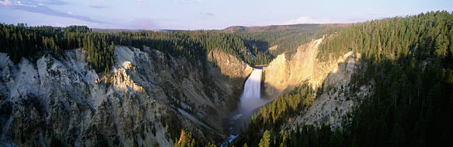 Water flowing from a waterfall, Lower Falls, Yellowstone National Park, Wyoming, USA
