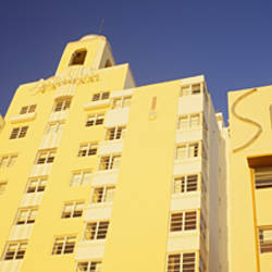 Low angle view of buildings in a city, Art Deco Hotels, Miami Beach, Florida, USA
