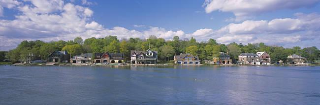 Boathouses near the river, Schuylkill River, Philadelphia, Pennsylvania, USA