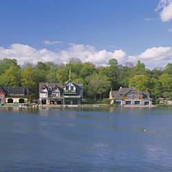 Boathouses near the river, Schuylkill River, Philadelphia, Pennsylvania, USA