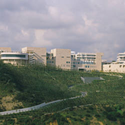 Low angle view of a museum on top of a hill, Getty Center, City of Los Angeles, California, USA
