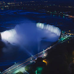 Aerial view of a waterfall at night, Horseshoe Falls, Niagra Falls, Ontario, Canada