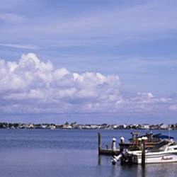 View Of A Boat Parked At A Pier, Thoroughfare Bay, Brigantine Beach, New Jersey, USA