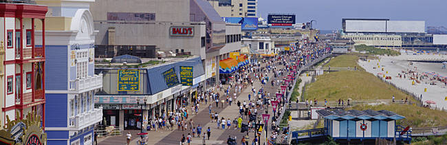 High angle view of tourists walking on a road, Atlantic City, New Jersey, USA