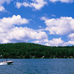 Motorboating in a lake, Oquaga Lake, Deposit, Broome County, New York State, USA