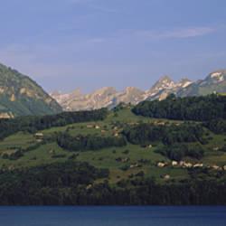 Houses on mountains, Schwyz, Canton Of Schwyz, Switzerland