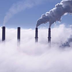 Smoke emitting from chimneys, Indiana, USA