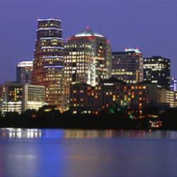 US, Texas, Austin, skyline, night