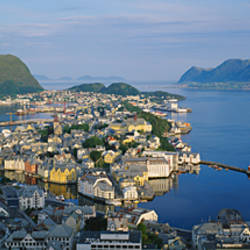 High angle view of a town, Alesund, More og Romsdall, Norway