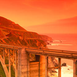 High angle view of an arch bridge, Bixby Bridge, Big Sur, California, USA