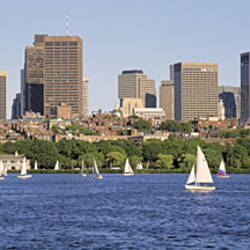 Panoramic View Of An Urban Skyline By The Shore, Boston, Massachusetts, USA