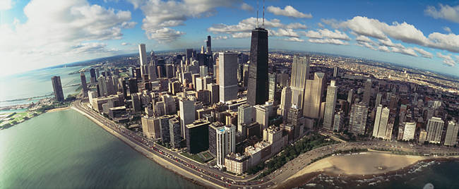 Aerial view of buildings in a city, Chicago, Illinois, USA