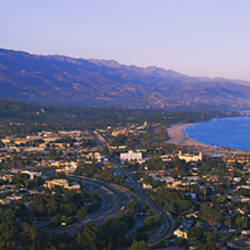High angle view of a town, Highway 101, Santa Ynez, Santa Barbara, California, USA