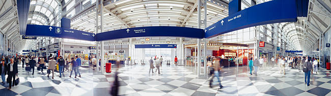 Passengers in an airport, O'Hare Airport, Chicago, Illinois, USA