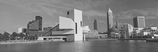 Buildings at the waterfront, Rock And Roll Hall of Fame, Cleveland, Ohio, USA