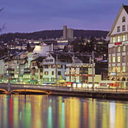 Switzerland, Zurich, River Limmat, view of buildings along a river
