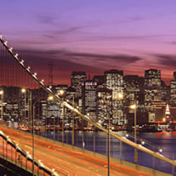 Bay Bridge Illuminated At Night, San Francisco, California, USA