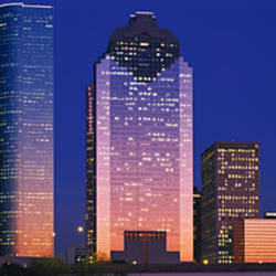 Skyscrapers lit up at night, Houston, Texas, USA