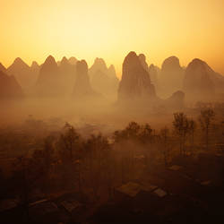 Sunrise in Mountains Guilin China