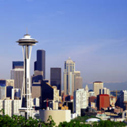 Skyscrapers in a city with a mountain in the background, Mt Rainier, Mt Rainier National Park, Space Needle, Seattle, Washington State, USA