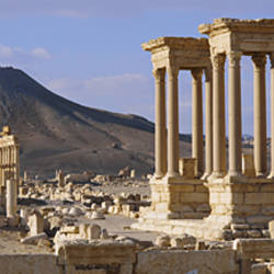 Colonnades on an arid landscape, Palmyra, Syria