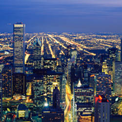 High angle view of a cityscape at night, Chicago, Illinois, USA