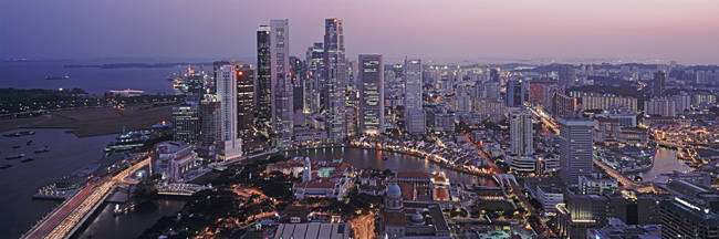 Aerial View Of The Skyline Of The Financial District, Singapore