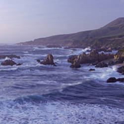 Waves breaking on the coast, Carmel, Monterey County, California, USA