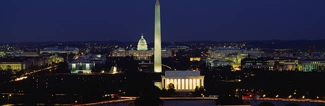 Buildings Lit Up At Night, Washington Monument, Washington DC, District Of Columbia, USA