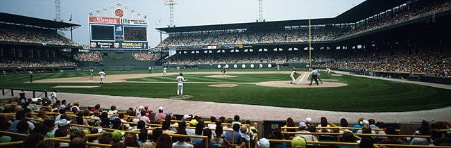 Spectators watching a baseball match in a stadium, U.S. Cellular Field, Chicago, Cook County, Illinois, USA