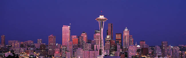 USA, Washington, Seattle, night