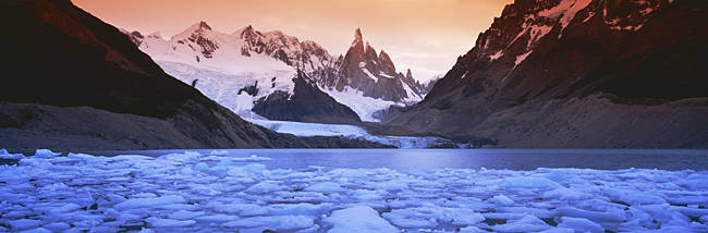Mountains covered in snow, Laguna Torre, Los Glaciares National Park, Patagonia, Argentina