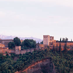 High angle view of a fort, view of Alhambra from San Nicolas in Albaicin, Granada, Granada Province, Andalusia, Spain