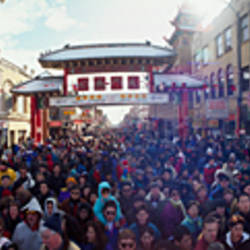 Group of people celebrating Chinese New Year Festival, Chinatown, Chicago, Cook County, Illinois, USA