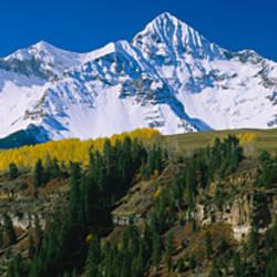 Snowcapped mountains on a landscape, Wilson Peak in autum, San Juan Mountains, near Telluride, Colorado
