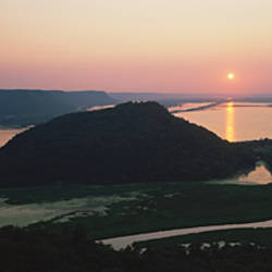 Silhouette of mountains at dusk, Trempealeau Mountain, Mississippi River, Minnesota, USA