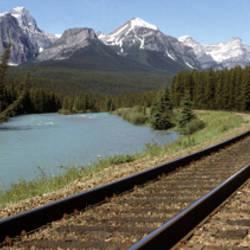 Railroad Tracks Bow River Alberta Canada
