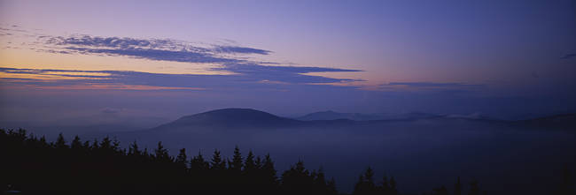Silhouette of mountain at dusk, Mount Equinox, Manchester, Vermont, New England, USA