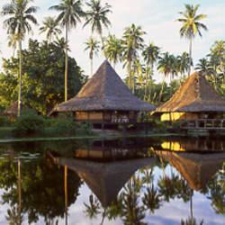 Overwater bungalows in a resort, Bali Hai Hotel, Moorea, Tahiti, French Polynesia