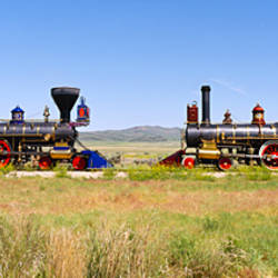 Two steam engines on a railroad track, Jupiter and 119, Golden Spike National Historic Site, Utah, USA