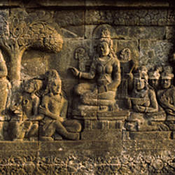 Carvings on the wall, Borobudur Temple, Java, Indonesia