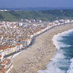 High angle view of a town, Nazare, Leiria, Portugal