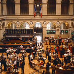 High angle view of a group people at a stock exchange, Paris Stock Exchange, Paris, France
