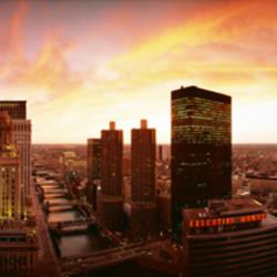 Sunset Skyline Chicago IL USA