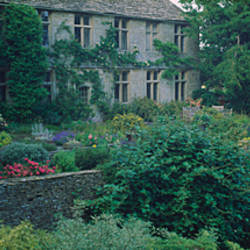 Garden in front of a castle, Beverston Castle, Gloucestershire, England