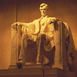 USA, Washington DC, Lincoln Memorial, Low angle view of the statue of Abraham Lincoln
