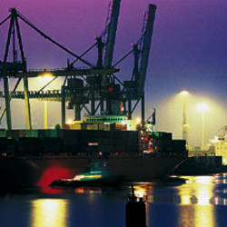 Port, Night, Illuminated, Hamburg, Germany