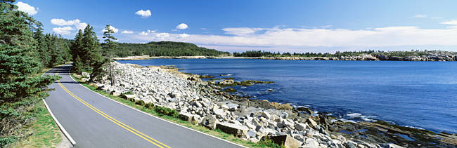 Road passing through a landscape, Park Loop Road, Atlantic Ocean, Acadia National Park, Maine, USA