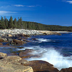 Waves breaking on rocks at the coast, Acadia National Park, Schoodic Peninsula, Maine, USA